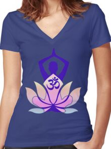 OM Namaste Yoga Pose Lotus Flower Women's Fitted V-Neck T-Shirt