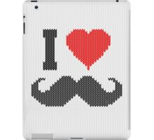 I Love Mustache in Knitting Motif Style iPad Case/Skin
