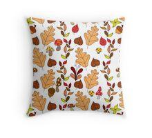 Fall Mushroom Leaf White Pattern Throw Pillow