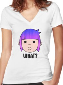 What? Women's Fitted V-Neck T-Shirt
