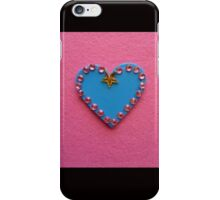 Blue Love Heart Decorated on Pink Background iPhone Case/Skin