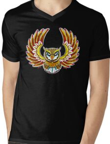 Flying Owl color Mens V-Neck T-Shirt
