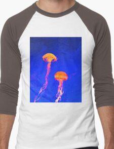 jellyfish aquatic sea wildlife animal  Men's Baseball ¾ T-Shirt