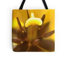 Macro Yellow Tulip Pistil & Stamen Tote Bag