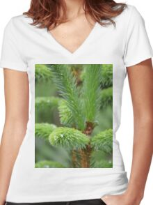 Pine Droplets Women's Fitted V-Neck T-Shirt