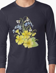 Spring flowers pencil and watercolor  Long Sleeve T-Shirt