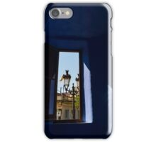 Rich Blues and Purples - Through the Window of Antoni Gaudi's Gatekeeper House in Park Guell iPhone Case/Skin