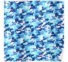 Blue camouflage Poster