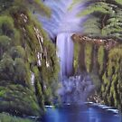 A deep woods waterfall on a black canvas by Troy Brown