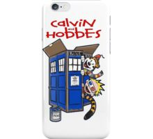 calvin and hobbes police box tardis iPhone Case/Skin