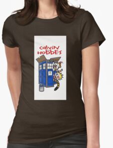 calvin and hobbes police box tardis Womens Fitted T-Shirt