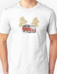 VW Bus 21 Window Samba Van Red Palms Unisex T-Shirt