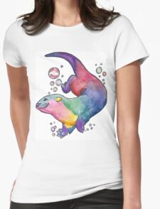Rainbow Otter Womens Fitted T-Shirt