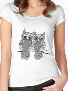 Owls in love black Women's Fitted Scoop T-Shirt
