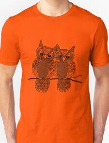 Owls in love black Unisex T-Shirt