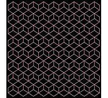 PInk Isometric Squares Photographic Print