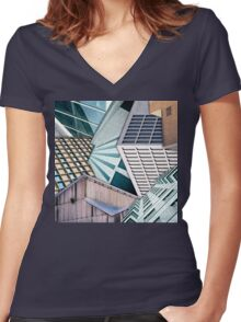 City Buildings Abstract Women's Fitted V-Neck T-Shirt