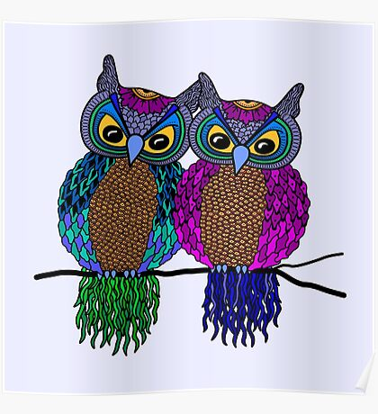 Owls in love colour Poster