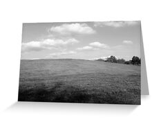 Blue Sky Over Pasture - Black and White Greeting Card