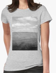 Blue Sky Over Pasture - Black and White Womens Fitted T-Shirt