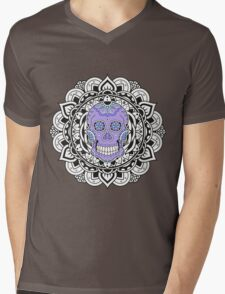 Mandala Skull Color Mens V-Neck T-Shirt