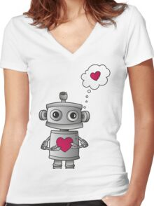 Valentine Robot Women's Fitted V-Neck T-Shirt