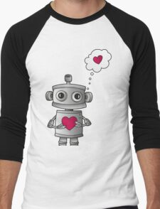 Valentine Robot Men's Baseball ¾ T-Shirt