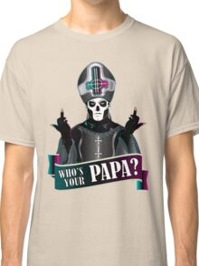 WHO'S YOUR PAPA? - papa 3 flippin' the bird-magenta Classic T-Shirt