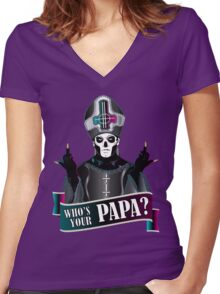 WHO'S YOUR PAPA? - papa 3 flippin' the bird-magenta Women's Fitted V-Neck T-Shirt