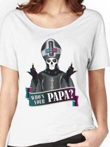 WHO'S YOUR PAPA? - papa 3 flippin' the bird-magenta Women's Relaxed Fit T-Shirt