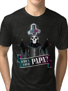 WHO'S YOUR PAPA? - papa 3 flippin' the bird-magenta Tri-blend T-Shirt