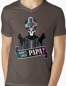 WHO'S YOUR PAPA? - papa 3 flippin' the bird-magenta Mens V-Neck T-Shirt
