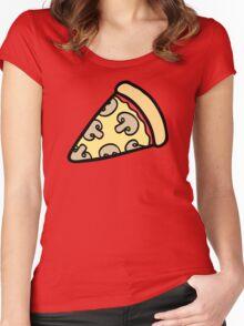 Mushroom Pizza Pattern Women's Fitted Scoop T-Shirt
