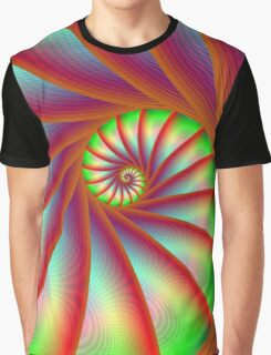 Staircase Spiral in Orange Blue and Green Graphic T-Shirt