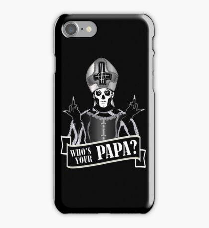 WHO'S YOUR PAPA? - papa 3 flippin' the bird-monochrome iPhone Case/Skin