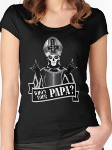 WHO'S YOUR PAPA? - papa 3 flippin' the bird-monochrome Women's Fitted Scoop T-Shirt