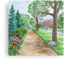 Landscape With Rabbit Squirrel and Butterflies Metal Print
