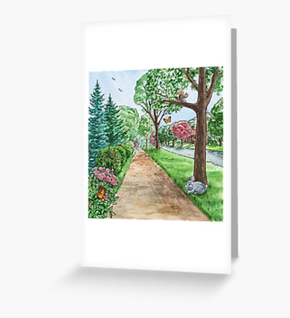 Landscape With Rabbit Squirrel and Butterflies Greeting Card