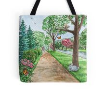 Landscape With Rabbit Squirrel and Butterflies Tote Bag