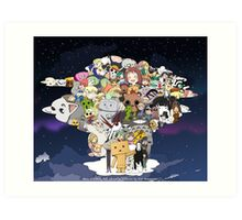 Anime Characters Collaboration Art Print