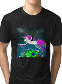 Penguin Riding a Unicorn Through the Aether. Tri-blend T-Shirt
