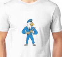 Bald Eagle Policeman Baton Cartoon Unisex T-Shirt