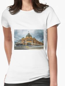 Rush Hour at Flinders Station Womens Fitted T-Shirt