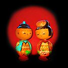 Two Japanese antique wooden Dolls by Mary Taylor