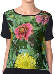 Colorful flowers in the garden. Chiffon Top
