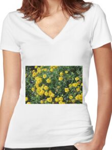 Bush of yellow flowers. Women's Fitted V-Neck T-Shirt