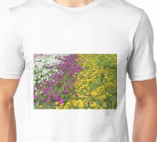 Colorful stripes of flowers in the park. Unisex T-Shirt