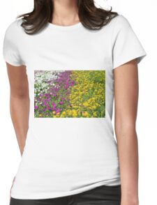 Colorful stripes of flowers in the park. Womens Fitted T-Shirt