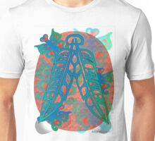 Heiltsuk Eagle & Raven Feathers surrounded by Butterfies Unisex T-Shirt