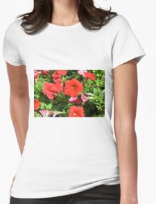 Beautiful red flowers in the garden. Womens Fitted T-Shirt